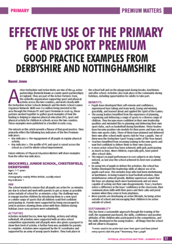 Notts school's good practice features in national education journal Physical Education Matters