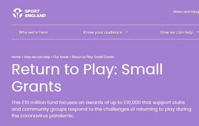 Sport England's Return to Play: Small Grants - Reopened